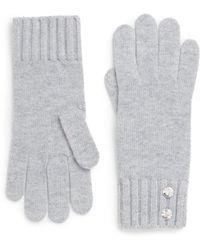Saks Fifth Avenue Black - Embellished Knit Gloves - Lyst