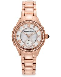 Saks Fifth Avenue - Crystal & Rose Goldtone Stainless Steel Sub-dial Watch - Lyst