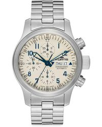 Fortis - Flieger Stainless Steel White Chronograph Watch - Lyst