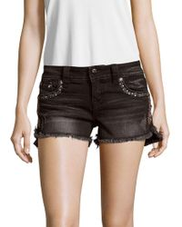Miss Me - Embroidered Five-pocket Denim Shorts - Lyst