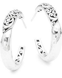 Lois Hill - Classic Sterling Silver Hoop Earrings - Lyst