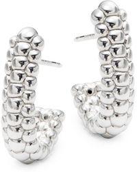 Saks Fifth Avenue - Sterling Silver Beaded J-hoop Earrings - Lyst