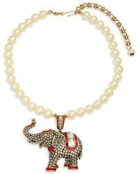 Heidi Daus - Faux Pearl Elephant Pendant Necklace - Lyst