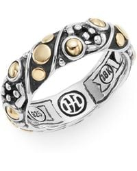 John Hardy - Jaisalmer Dot Yellow Gold & Sterling Silver Twist Band Ring - Lyst