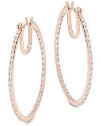 Effy - 14k Rose Gold Diamond Hoops - Lyst