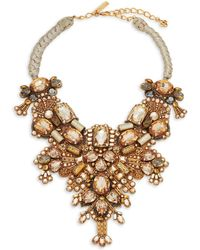 Oscar de la Renta - Crystal & Silver Beaded Bib Necklace - Lyst