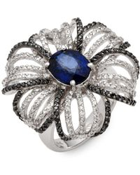 Effy - Black And White Diamond, Sapphire, & 14k White Gold Cocktail Ring - Lyst