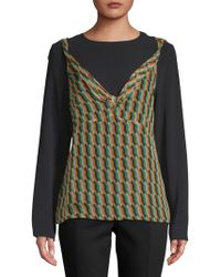 Dries Van Noten - Geometric-print Long-sleeve Silk Blouse - Lyst