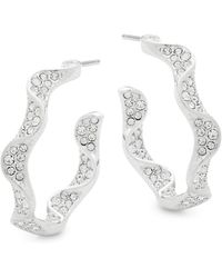 Adriana Orsini - Crystal Ruffle Hoop Earrings - Lyst