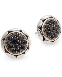 John Hardy - Kali Black Sapphire & Sterling Silver Button Earrings - Lyst