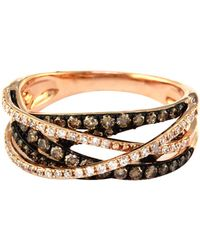 Effy - 14k Rose Gold Brown And White Diamond Crossover Ring - Lyst