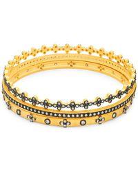 Freida Rothman - 14k Goldplated Sterling Silver, Black Rhodium & Cubic Zirconia Bangle Bracelet - Lyst