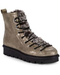 Seychelles - Cooperation Faux Fur-trim Metallic Suede Boots - Lyst