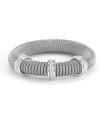 Alor - Kai 18k White Gold & Stainless Steel Diamond Coiled Bangle Bracelet - Lyst
