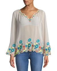 Plenty by Tracy Reese - Border Embroidered Peasant Top - Lyst