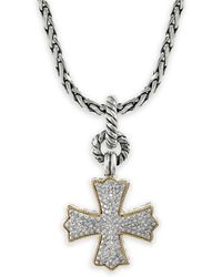 Effy - 18k Yellow Gold, Sterling Silver & Diamond Pendant Necklace - Lyst