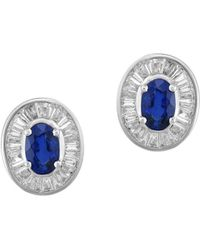 Effy - 4k White Gold, Diamond, & Sapphire Stud Earrings - Lyst