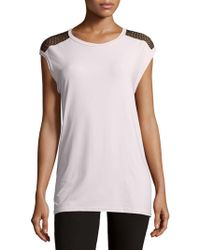 Alaïa - Cap-sleeve Mesh-back Top - Lyst