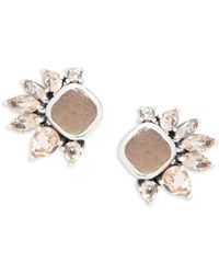 Stephen Dweck - Mother-of-pearl, Smokey Quartz, Pink Quartz & Sterling Silver Stud Earrings - Lyst