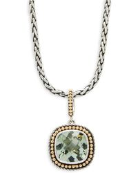 Effy - Green Amethyst, 18k Yellow Gold And Sterling Silver Pendant Necklace - Lyst