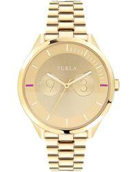 Furla - Metropolis Goldtone Dial Stainless Steel Watch - Lyst