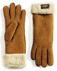 UGG - Shearling Cuff Suede Gloves - Lyst