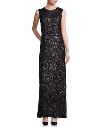 Laundry by Shelli Segal - Platinum Sequin Cutout Gown - Lyst