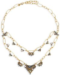 Alexis Bittar - Elements Mosaic Chain Rose Crystal, Light Ochre Crystal, Clear Crystal & Black Mother-of-pearl Two-tier Necklace - Lyst