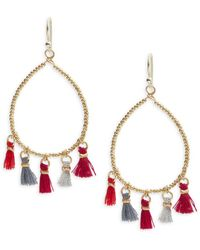 Panacea - Beaded Hoop Drop Earrings - Lyst