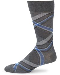 Saks Fifth Avenue - Checkered Crew Socks - Lyst