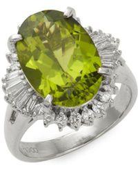 Estate Fine Jewelry - Peridot, Diamond & Platinum Cocktail Ring - Lyst