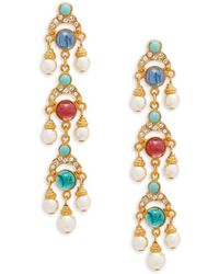 Ben-Amun - Crystal And Faux Pearl Drop Earrings - Lyst