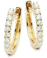 Nephora - 14k Yellow Gold Diamond Huggie Hoops - Lyst