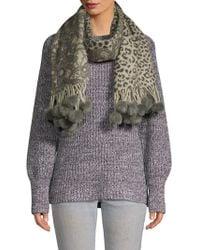 La Fiorentina - Wool & Rabbit Fur Pom-pom Scarf - Lyst