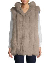 Belle Fare - Dyed Rabbit Fur-trimmed & Dyed Fox Fur Vest - Lyst