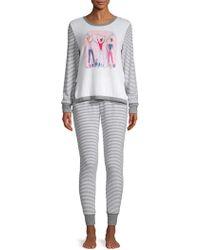 Jane And Bleecker - Two-piece Striped Pyjama Set - Lyst