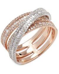 Effy - 18k White & Rose Gold Stacked Diamond Ring - Lyst