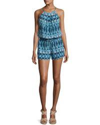 82844c32ce4f Lyst - Joie Solstice Printed Silk Romper in Blue