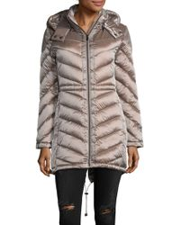 Belle By Badgley Mischka | Melrose Chevron Quilted Puffer Coat | Lyst