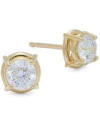 Plevé - Classic 18k Yellow Gold & Diamond Cushion Stud Earrings - Lyst