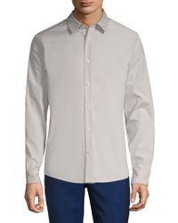Vince - Reverse Placket Cotton Button-down Shirt - Lyst