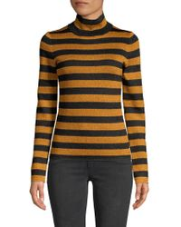Alice + Olivia - Roberta Metallic Stripe Turtleneck Top - Lyst