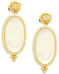 Freida Rothman - Framed Oval Mother-of-pearl, Crystal & Sterling Silver Drop Earrings - Lyst