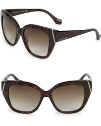 Balenciaga - Injected Tortoiseshell 57mm Square Sunglasses - Lyst