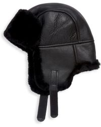 Surell - Dyed Shearling & Leather Trooper Hat - Lyst