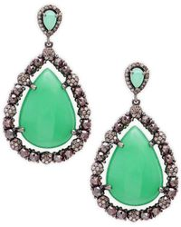 Bavna - Sterling Silver, Chrysoprase & Diamond Drop Earrings - Lyst