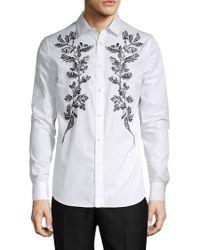Alexander McQueen - Embroidered Long-sleeve Shirt - Lyst