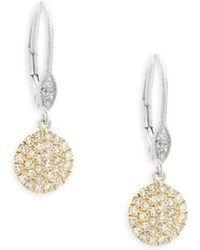 Meira T - Pavé Diamond Disc Gold Drop Earrings - Lyst