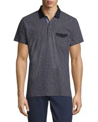 Saks Fifth Avenue - Striped Chambray Polo - Lyst