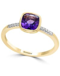 Effy - 14k Yellow Gold, Diamond And Amethyst Ring - Lyst
